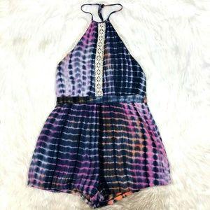 Missguided Tie Dye Lace Trim Shorts Romper Boho